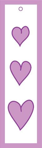 Bokmärke rosa hjärtan